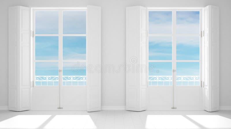 Elegancki pusty pokój z panoramicznymi okno w górę, klasyczne żaluzje, klasyczny balkon niebieski zachmurzone niebo Bia?y t?o z k royalty ilustracja