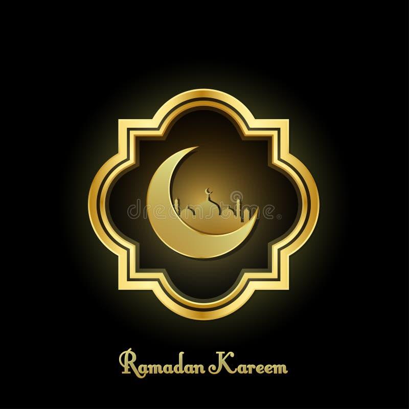 Elegancki Ramadan Kareem tło złota dekoracyjna rama z księżyc i meczetowy ustawiający na czarnym tle royalty ilustracja