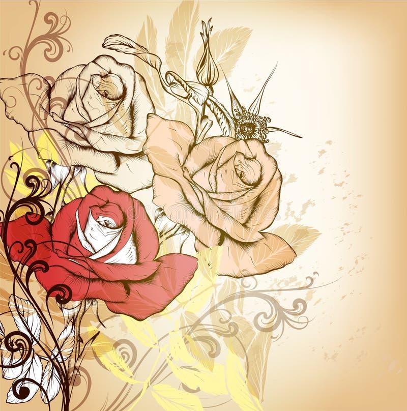 Elegancki rocznika tło z ręki rysować różami ilustracji
