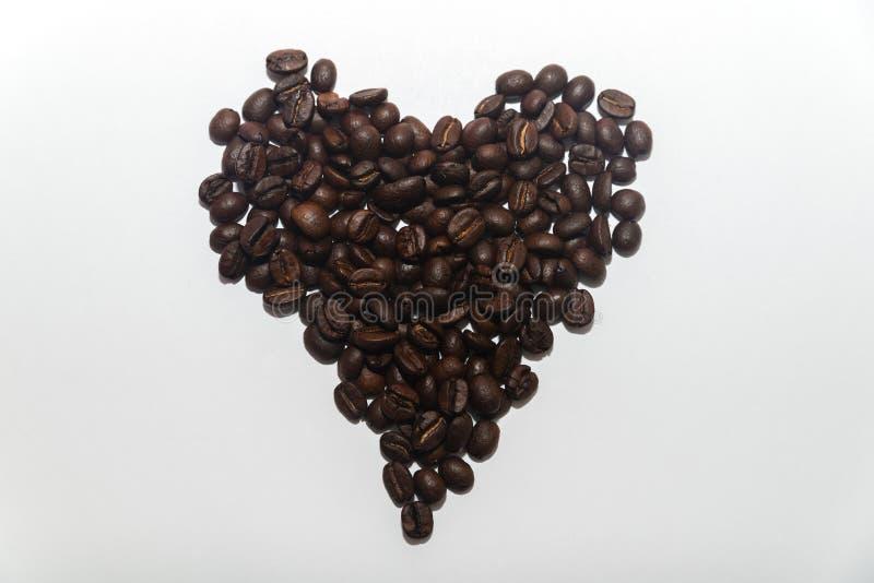 Elegancki serce robić adra piec fragrant kawa na whi zdjęcia royalty free