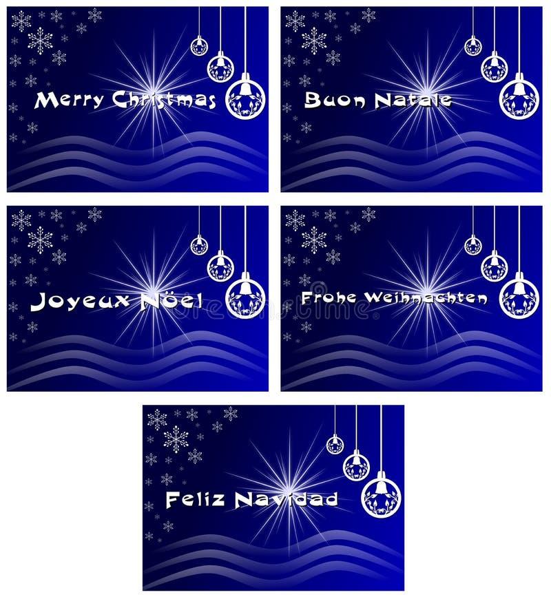 Elegancki set Bożenarodzeniowy kartka z pozdrowieniami w błękicie royalty ilustracja