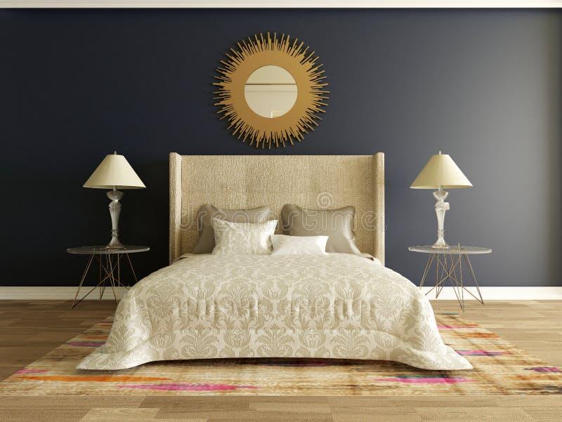 Elegancki sypialni wnętrze ilustracja wektor