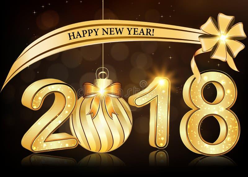 Elegancki Szczęśliwy nowego roku 2018 tło, kartka z pozdrowieniami/ ilustracji