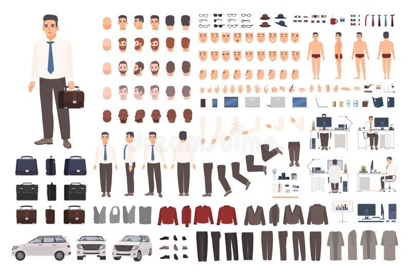 Elegancki urzędnika, urzędnika tworzenia set lub Kolekcja części ciałe, eleganccy biznesów ubrania, twarze ilustracja wektor