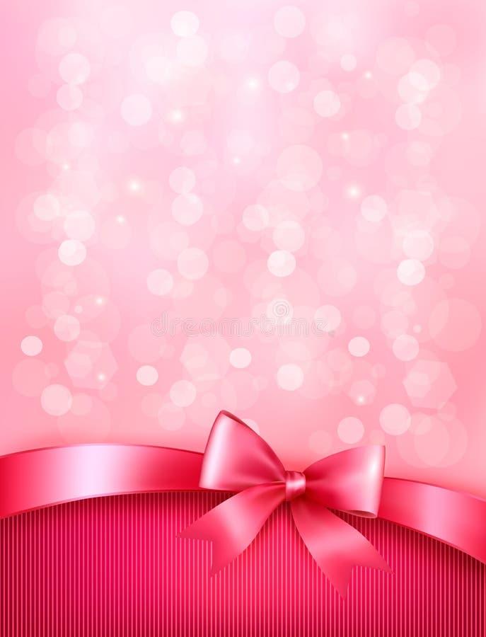 Elegancki wakacyjny tło z prezent menchii łękiem ilustracji