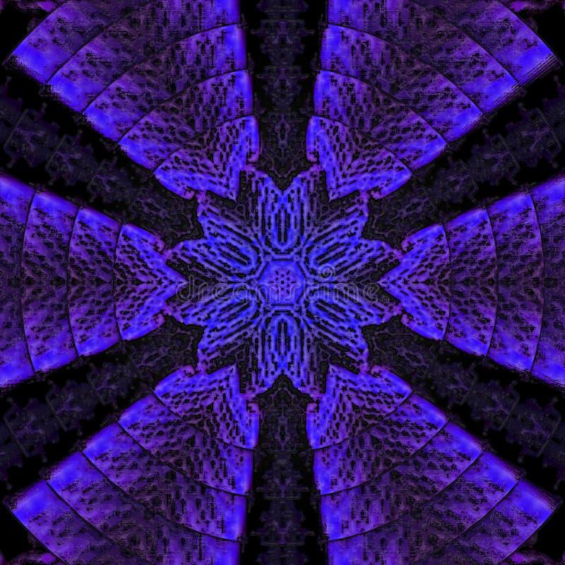 Elegancki wzór w neonowych fiołka i błękita kolorach Gwiazdowy mandala ilustracji
