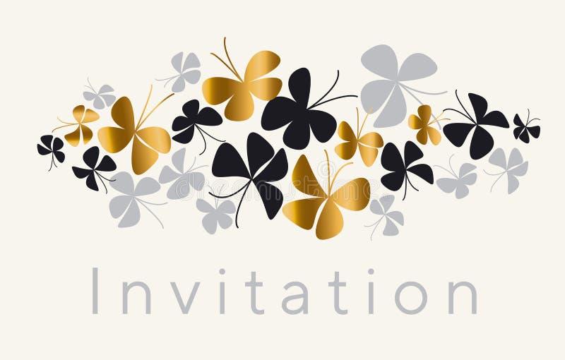 Elegancki złoto i czarny motyli skład dla karty, invitatio royalty ilustracja