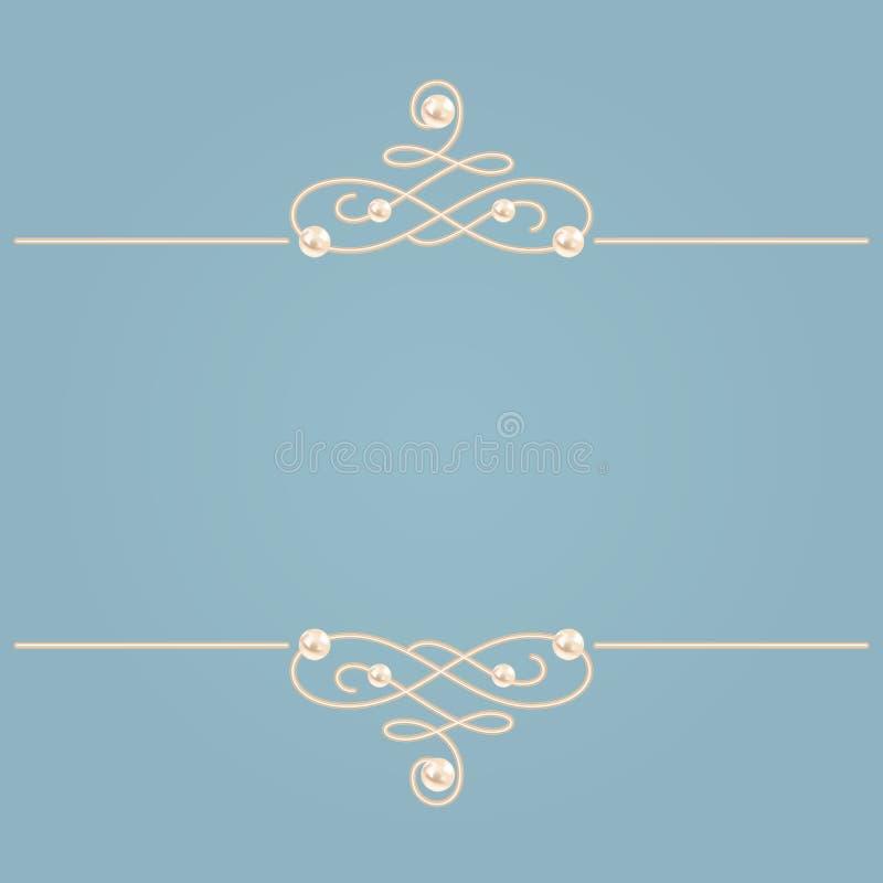 Elegancki złoty kępka znak Błękitna i beżowa pastelowa ilustracja, kaligraficzni zawijasów dividers z perłami wektor royalty ilustracja