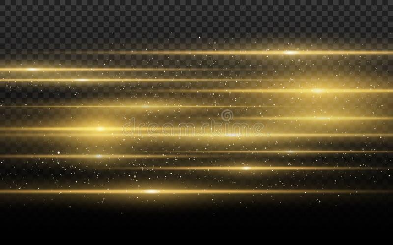 Elegancki złoty lekki skutek Abstrakcjonistyczne wiązki laserowe światło Chaotyczni neonowi promienie światło Złote błyskotliwość royalty ilustracja