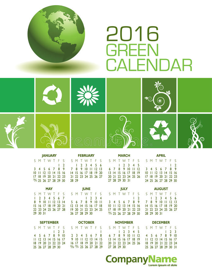 Elegancki 2016 zieleni kalendarz ilustracja wektor