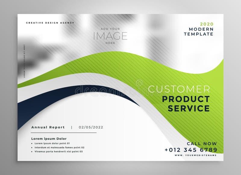 Elegancki zielonej fala broszurki projekta szablon royalty ilustracja