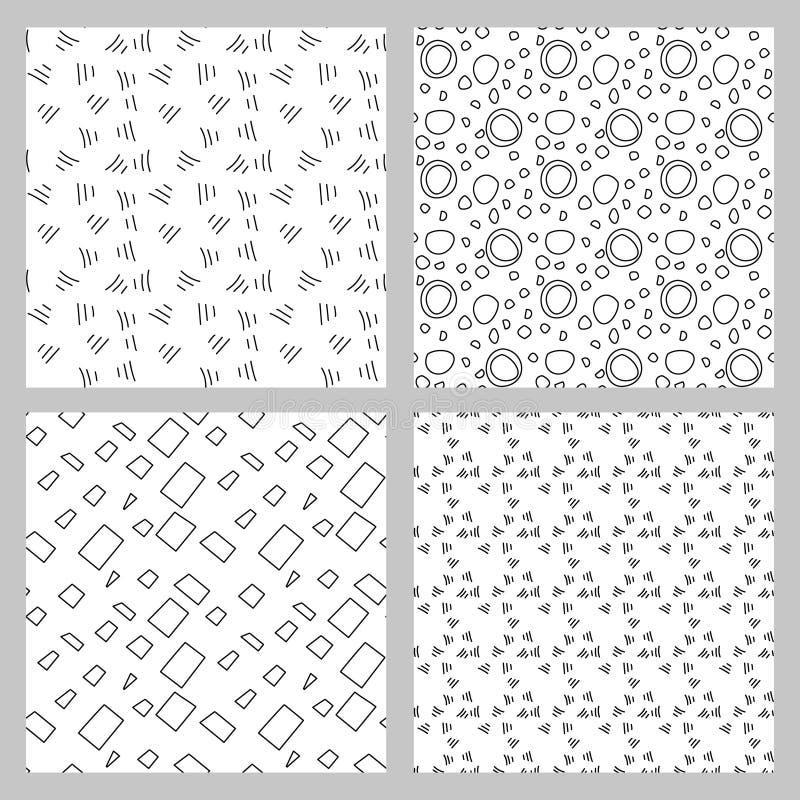 4 eleganckich monochromu wzorów bezszwowy set ilustracji