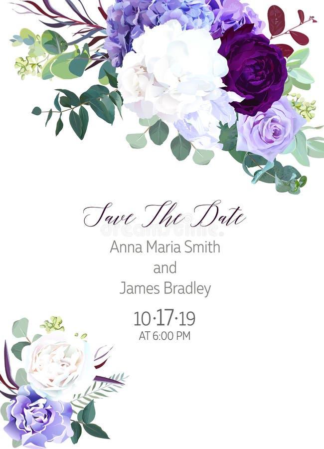 Eleganckich sezonowych ciemnych kwiatów projekta ślubu wektorowa rama royalty ilustracja