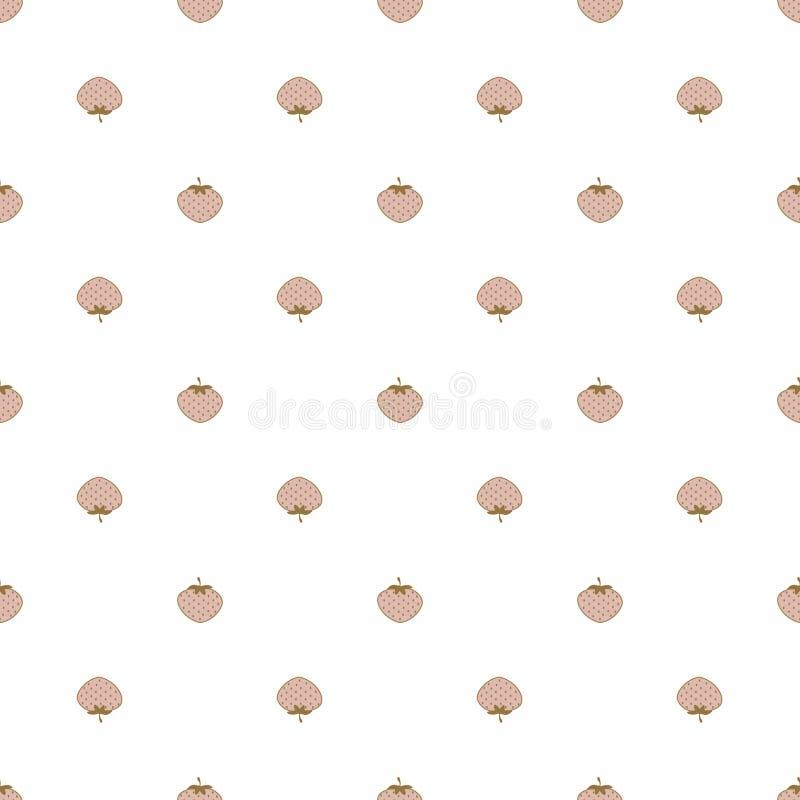 Eleganckich truskawek bezszwowy wzór na białym tle Małej mody jasnoróżowe i złociste jagody powtarzają tło ilustracja wektor