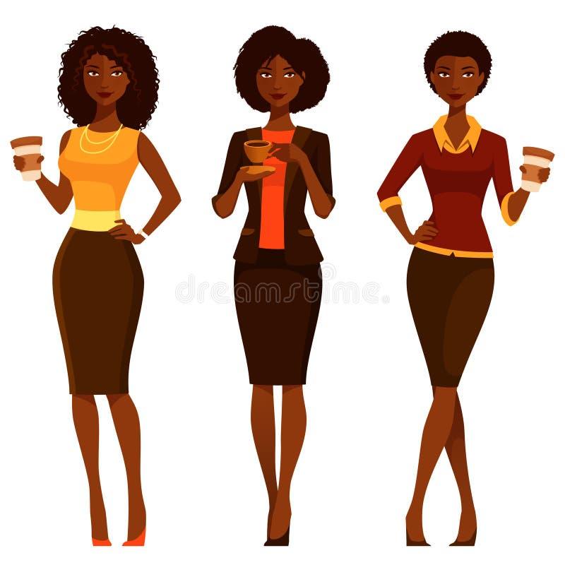 Eleganckie amerykanin afrykańskiego pochodzenia kobiety z kawą ilustracja wektor