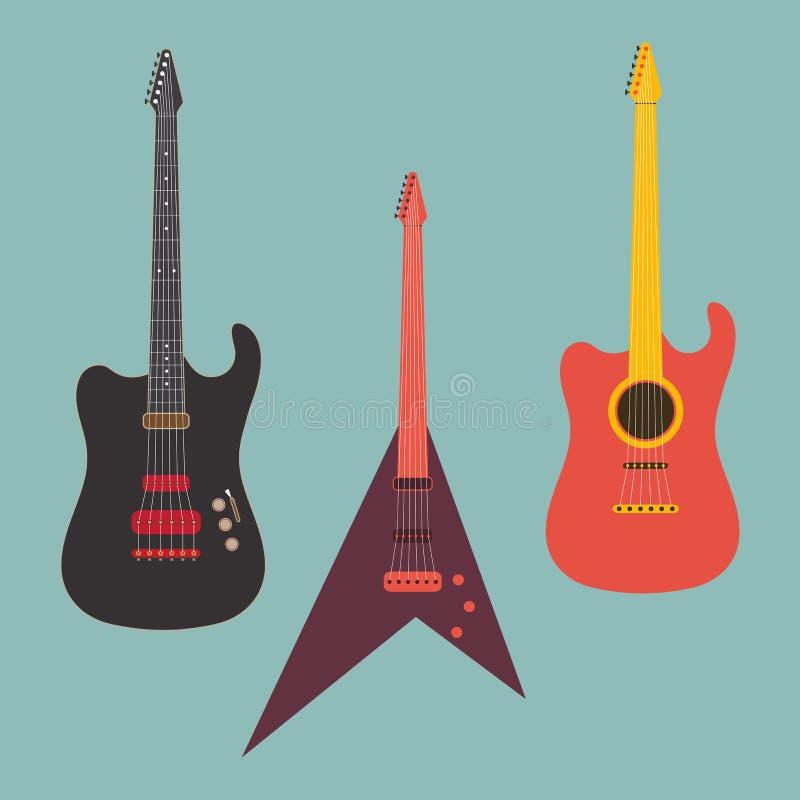 Download Eleganckie Gitary Dla Muzycznego Pojęcia Ilustracji - Ilustracja złożonej z sztandar, jazzes: 53778049