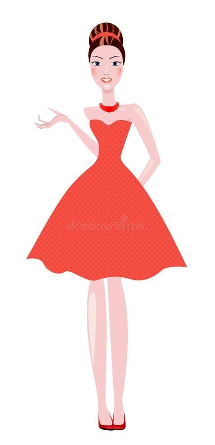 Eleganckie kobiety brunetka ubierał w polek kropek sukni ilustracji
