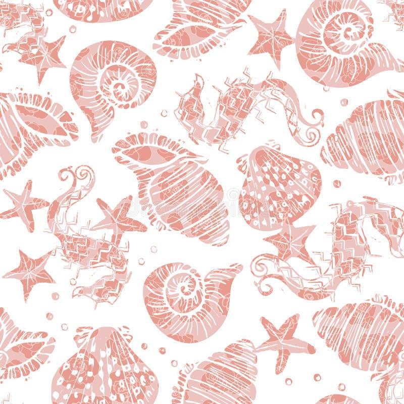 Eleganckie menchie na białym ozdobnym seahorse, rozgwiazdy i seashell bezszwowym deseniowym tle z kwiecistą tekstury narzutą, ilustracji