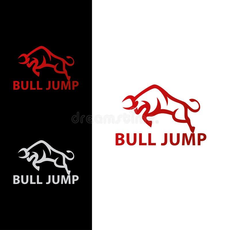 Eleganckiego Śmiałego byka Skokowy logo obrazy stock
