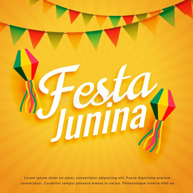 Eleganckiego festa junina plakatowy wakacyjny powitanie ilustracja wektor