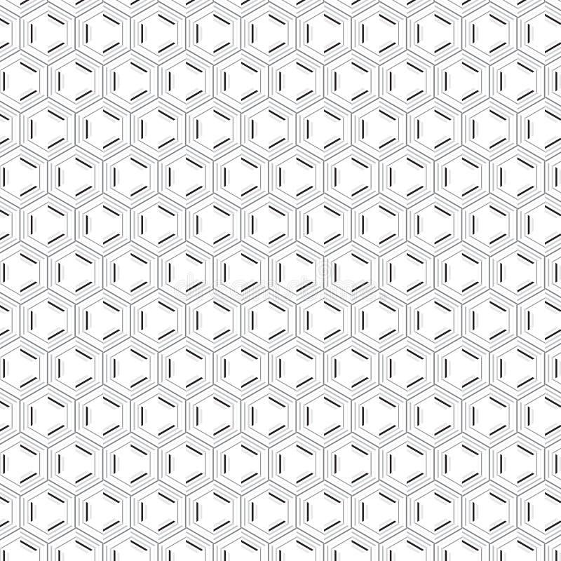 Eleganckiej Abstrakcjonistycznej Unikalnej prostoty eleganci lampasa Heksagonalny Szary Bezszwowy wzór ilustracja wektor