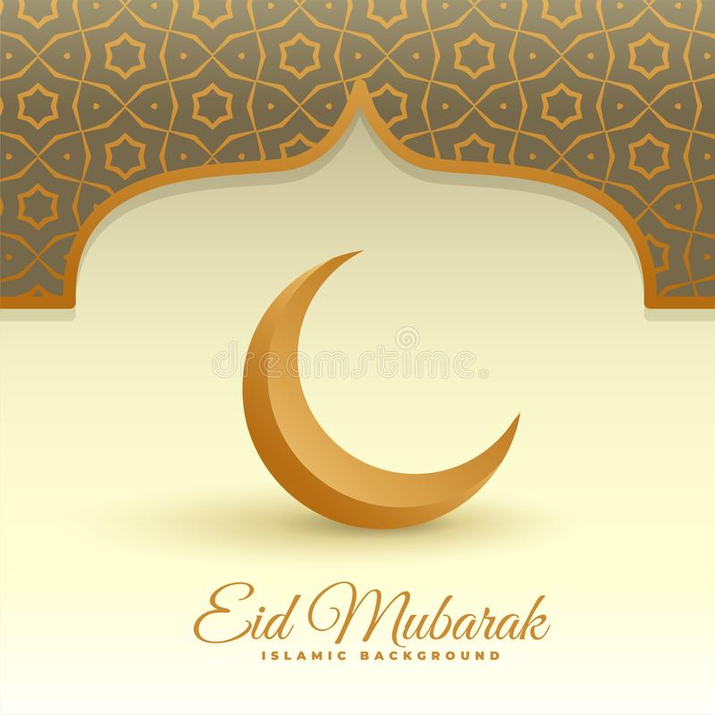 Eleganckiej 3d księżyc eid Mubarak islamski tło royalty ilustracja