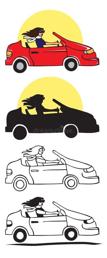 Eleganckiej dziewczyny napędowa samochodowa ilustracja ilustracja wektor
