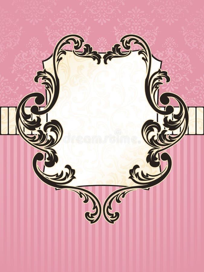 eleganckiej francuskiej etykietki prostokątny rocznik royalty ilustracja