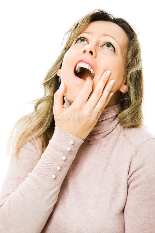 Eleganckiej kobiety czuciowy toothache - stomatologiczni problemy zdjęcia stock