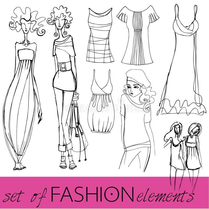 eleganckiej mody obrazkowi modele ustawiający ilustracji