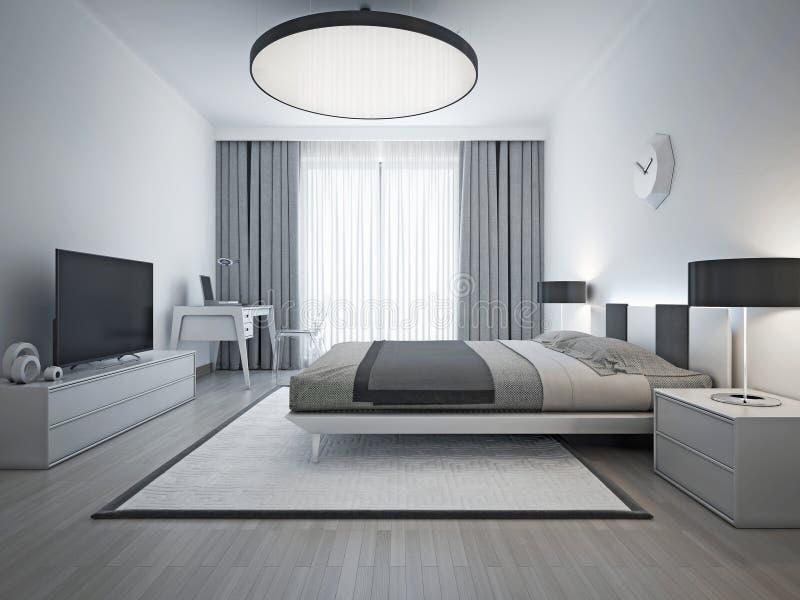 Eleganckiej sypialni współczesny styl zdjęcie royalty free