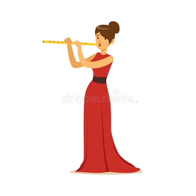 Elegancko ubierający żeński muzyk bawić się flet, muzyka klasyczna występ ilustracji