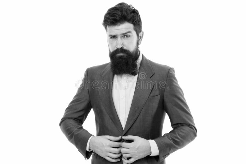 Elegancy and male style. Businessman or host fashionable outfit isolated white. Fashion concept. Classy style. Man royalty free stock images