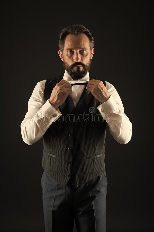Elegancy and male style. Classy style. Man bearded guy wear white shirt and classic vest outfit. Formal outfit. Elegant royalty free stock image