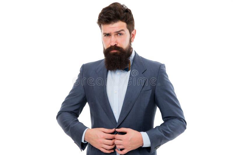 Elegancy och manlig stil Isolerade den trendiga dräkten för affärsmannen eller för värden vitt för begreppsframsida för skönhet b fotografering för bildbyråer