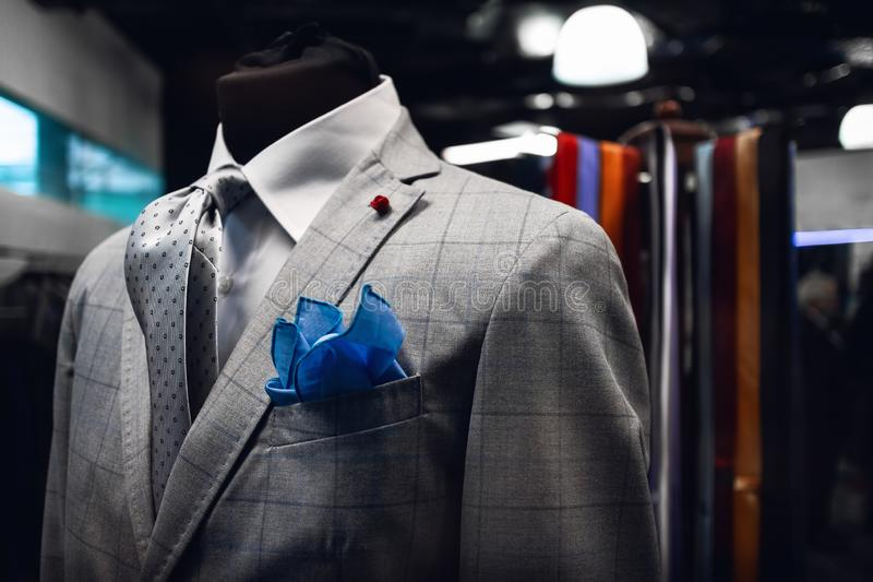 Elegand man`s suite on a mannequin in an italian dress shop royalty free stock photography