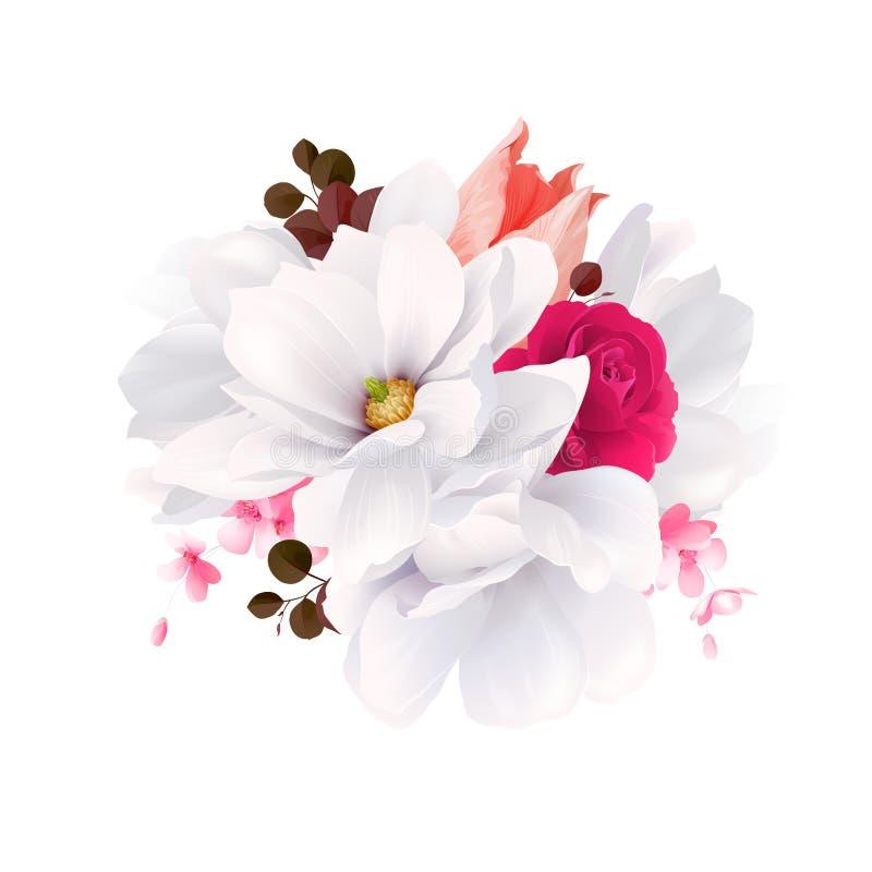Elegans blommar buketten av den vita härliga magnolior, färgrosen och tulpan Sammansättning med blomningblommor vektor royaltyfri illustrationer