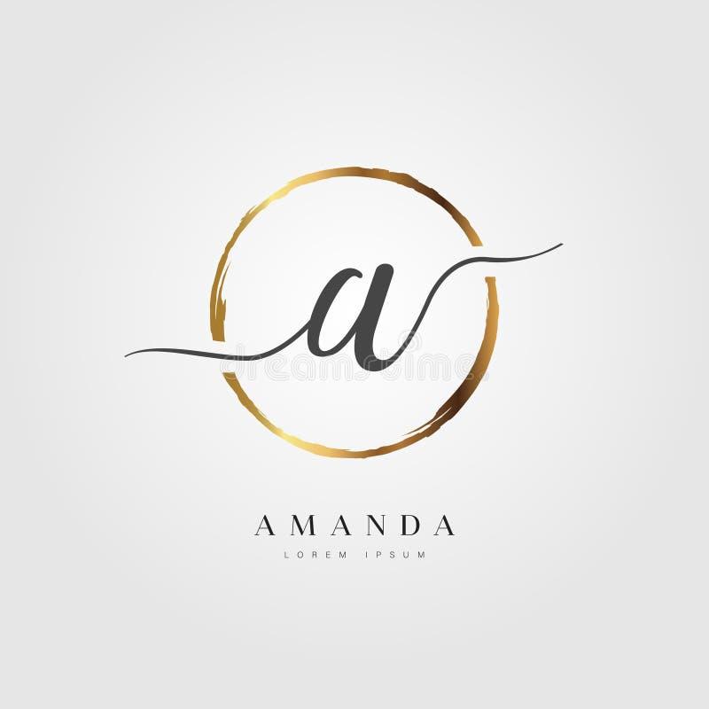 Elegant Aanvankelijk Brieventype A Logo With Gold Circle Brushed royalty-vrije illustratie