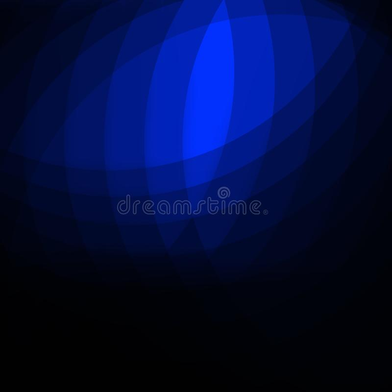 Elegant abstract dark background design with blue curves and copyspace for your text stock illustration