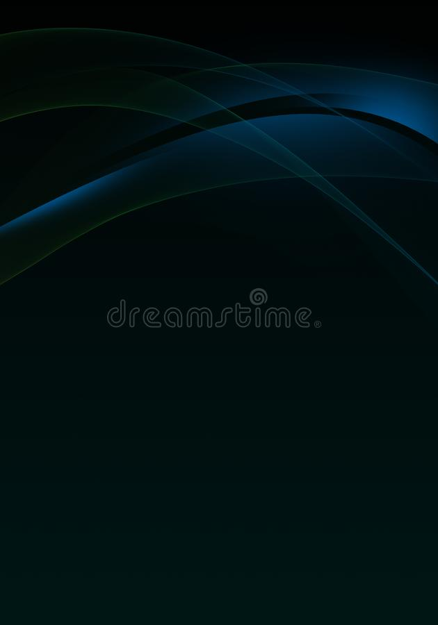 Elegant abstract dark background design with blue curves and space for your text stock image