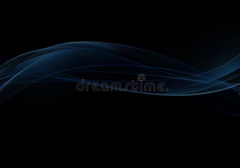 Elegant abstract dark background design with blue curves and space for your text stock illustration