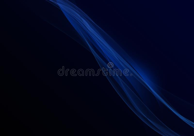 Elegant abstract dark background design with blue curves and space for your text vector illustration