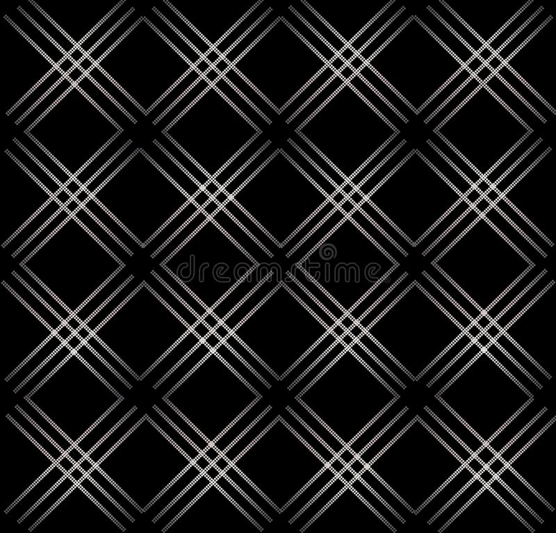 Elegant abstract geometric seamless pattern black background. Elegant silver shiny abstract geometric seamless pattern on black background. Modern linear grid royalty free illustration