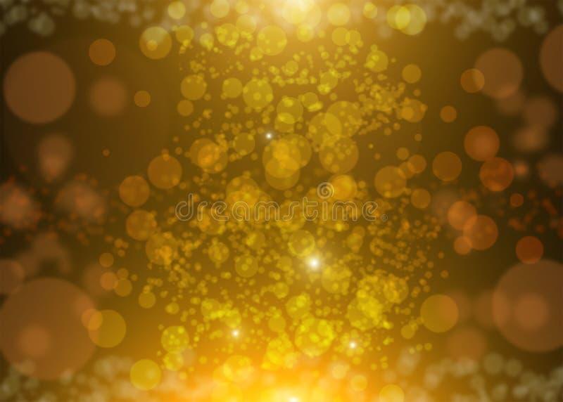 Elegant abstrakt bakgrund med guld blänker mousserar strålljusbokeh och stjärnor Guld- festlig julbakgrund royaltyfri illustrationer