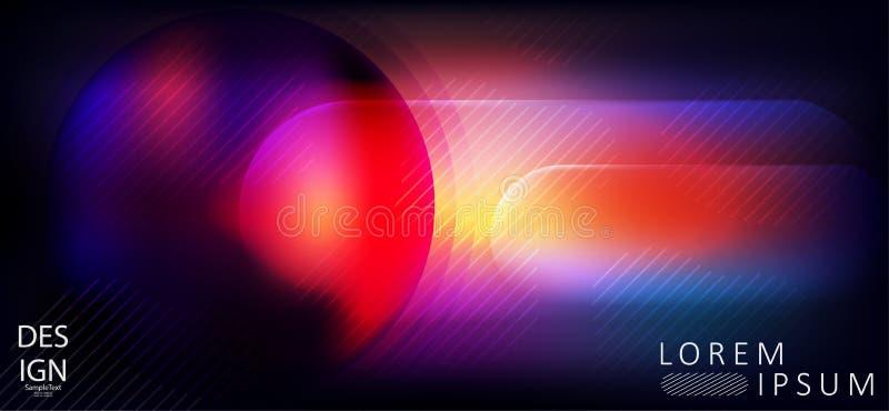 Elegant abstrakt mörkt - blått med design för röd färg med en rund ram royaltyfri illustrationer