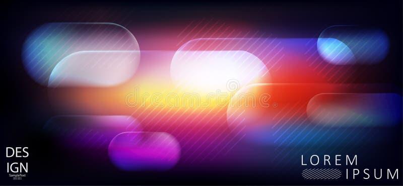 Elegant abstrakt mörkt - blått med design för röd färg med ljusa genomskinliga band vektor illustrationer