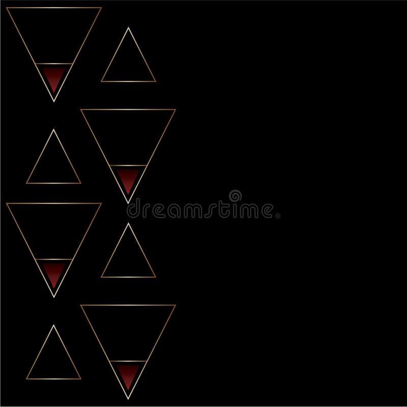 Elegant abstrakt svart och guld- modell med triangelformer Små röda lutningdetaljer Textutrymme stock illustrationer
