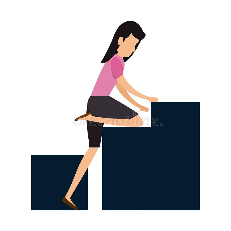 Elegant affärskvinna som klättrar statistikstänger stock illustrationer