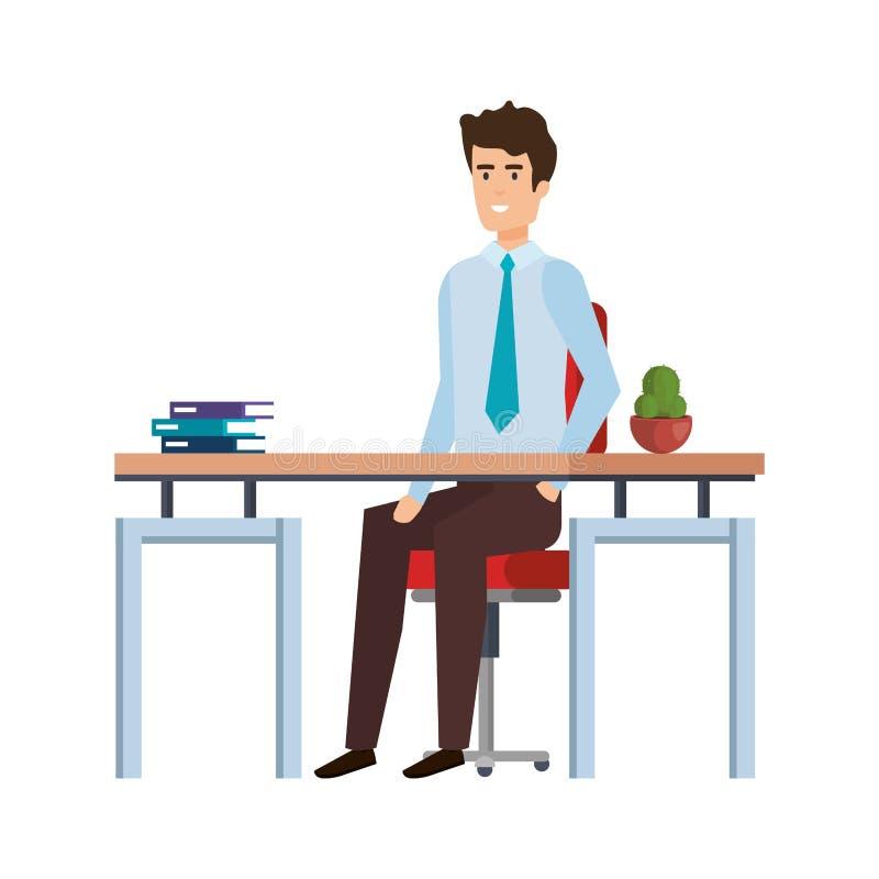 Elegant affärsman i arbetsplatsen royaltyfri illustrationer
