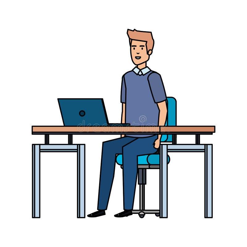 Elegant affärsman i arbetsplatsen stock illustrationer